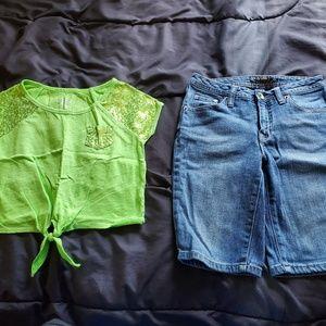 girls size 12 slim JUSTICE denim shorts & top
